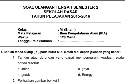 Contoh Soal Ujian Nasional Ipa Kelas 6 Sd Ujian Nasional
