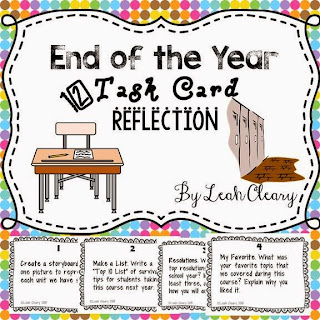 End of the Year Task Card Reflection