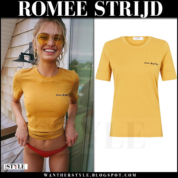 Romee Strijd in yellow t-shirt and yellow sunglasses instagram august 6 2017 model off duty style