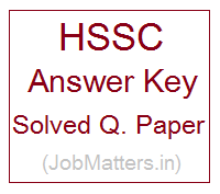 image : HSSC Answer Key - Solved Q. Paper @ JobMatters.in