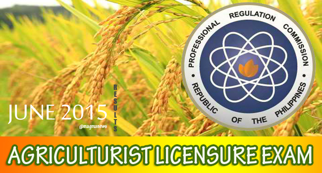 Results of June 2015 Agriculturist Licensure Examination