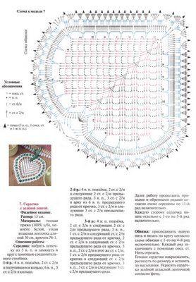 Enfeite de coração de crochê com gráfico