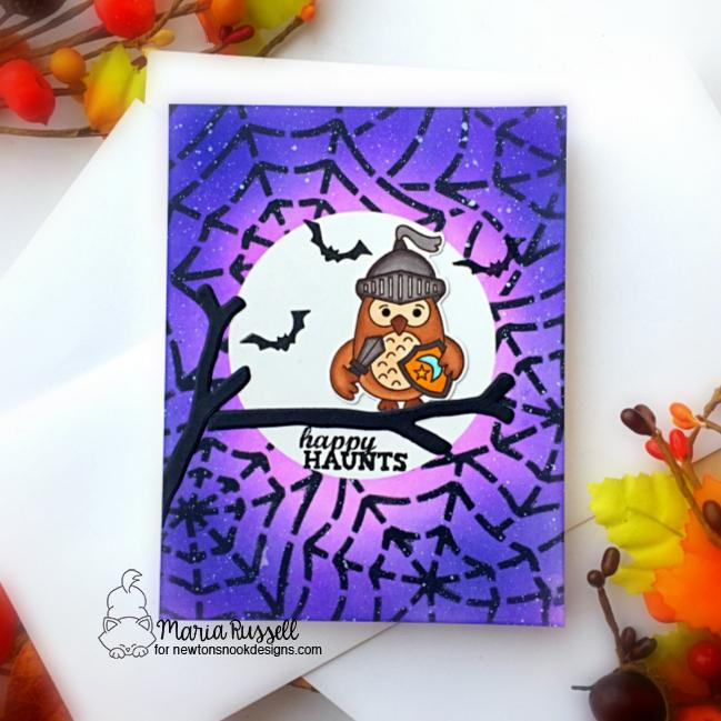 Happy Haunts Card by Maria Russell | Knight Owl Stamp Set, Spiderweb Stencil, Spooky Street Stamp Set and What a Hoot Die Set by Newton's Nook Designs #newtonsnook #handmade