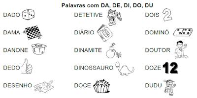 Lista de palavras e desenhos da família silábica DA-DE-DI-DO-DU
