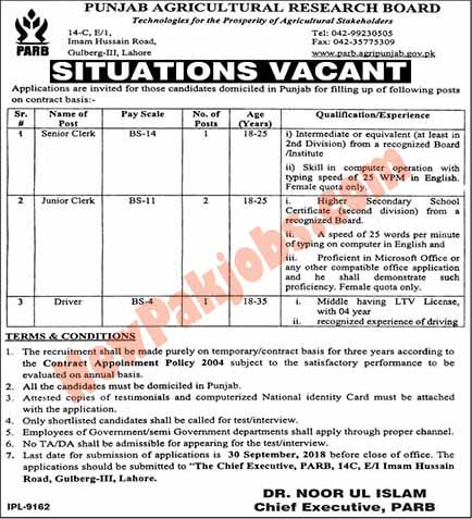 Punjab Agriculture Research Board Lahore Required persons