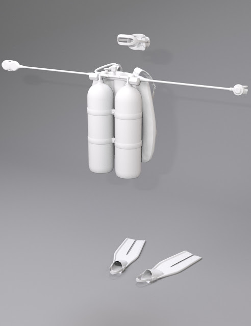 Twin-Cylinder Scuba Gear for Genesis 3 Female