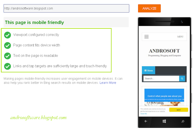 Hasil Test Mobile Friendly Blog di Bing Webmaster