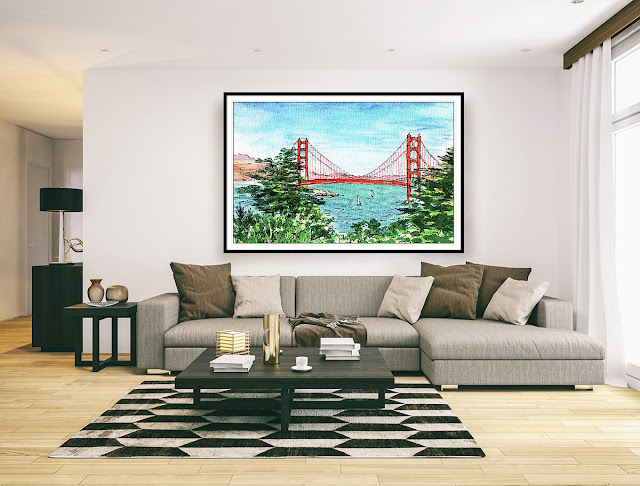 Golden Bridge San Francisco Painting in interior decor