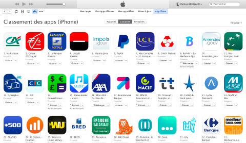 Catégorie Finance sur l'AppStore