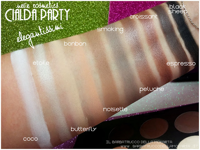 elegantissimi swatches neve cosmetics cialda party review recensione makeup