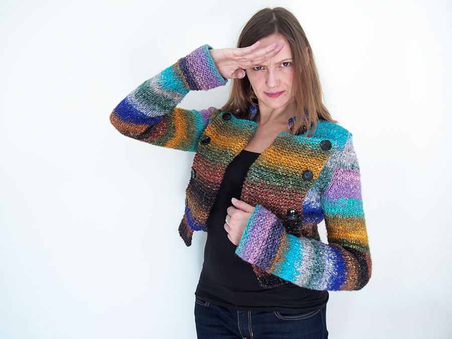 Mega Military Jacket knit by Dayana Knits, free pattern from Cheval Blanc in Noro Obi yarn