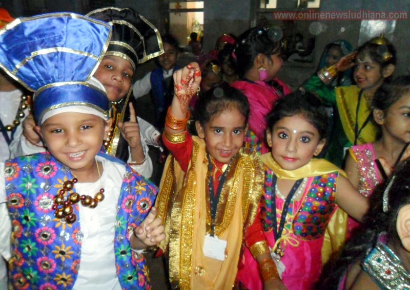 Students dressed in vibrant colour during Teej Celebration at Bcm School