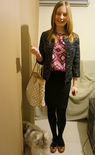 day long meeting outfit pencil skirt printed top tan flats LV NF tweed jacket