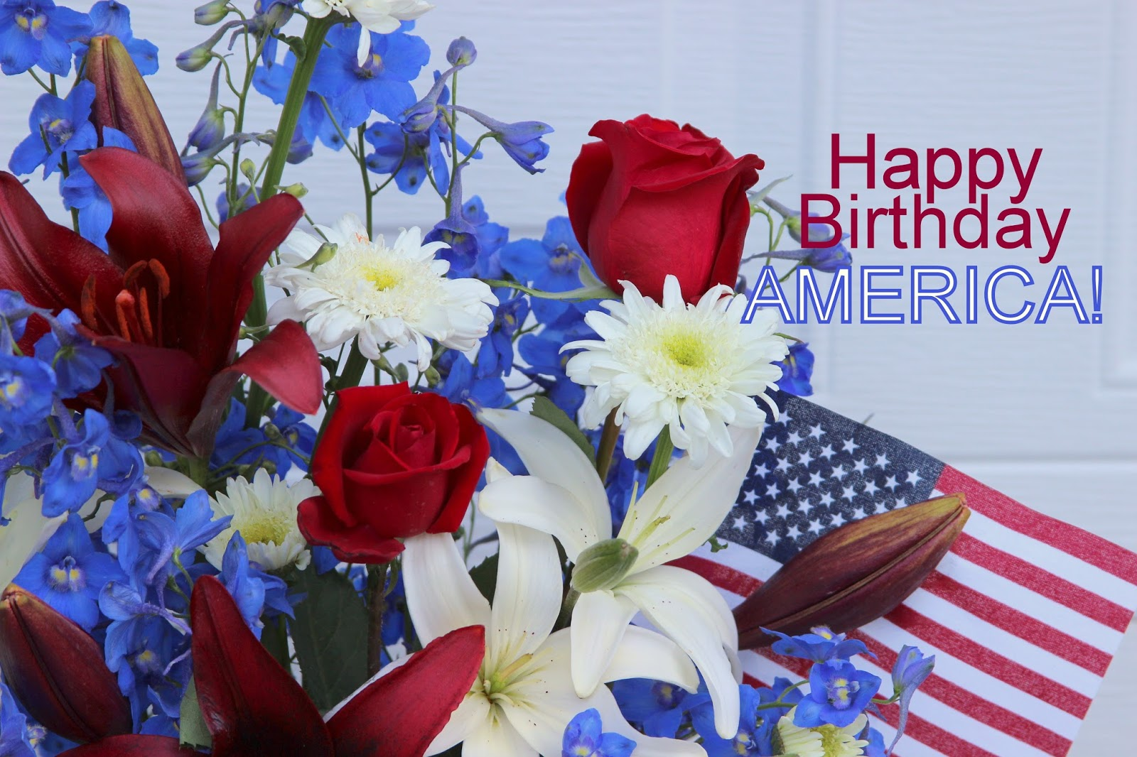 Red White And Blue Arrangements Happy Birthday America Sowing