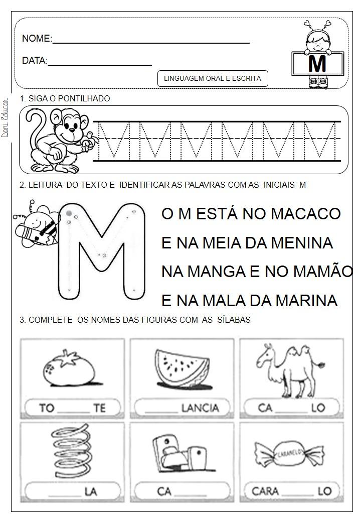 Excepcional Portal Escola: atividades letra M CA01
