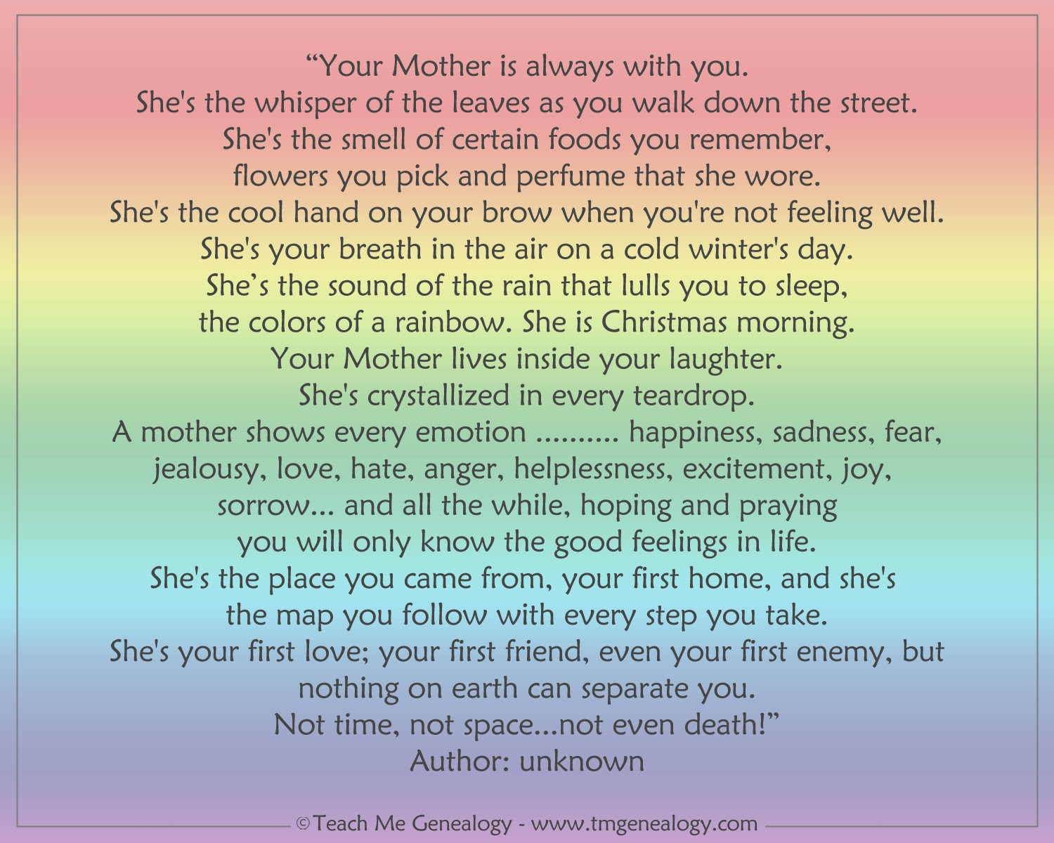 Your Mother Is Always With You Poem Teach Me Genealogy