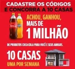 Cadastrar Nova Promoção Coca-Cola 10 Casas - Achou Ganhou Brinde