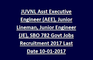 Jharkhand JUVNL Assistant Executive Engineer (AEE), Junior Lineman, Junior Engineer (JE), SBO Govt Jobs Recruitment 2017 Last Date 10-01-2017