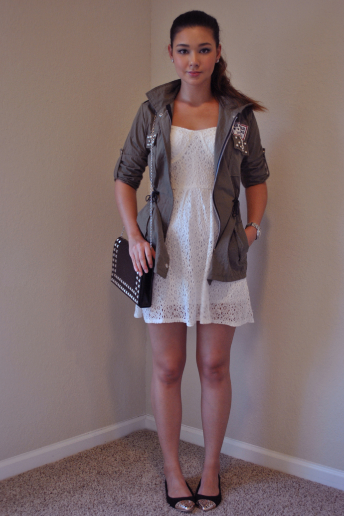 Charlotte Russe Bustier Lace Dress, Arafeel Military Jacket, Studded Bag, Mart of China Cap Toe Flats
