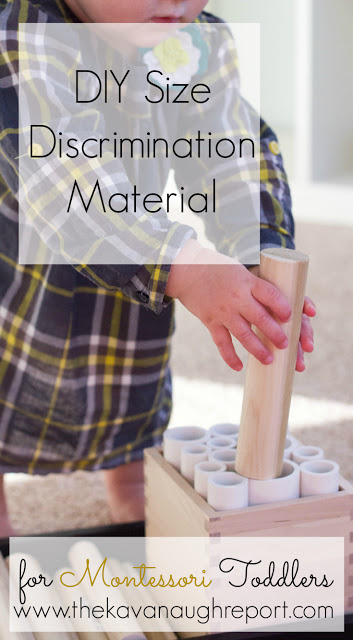 This easy Montessori inspired DIY size discrimination work helps toddlers who are interested in pegging work sort by size.