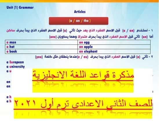 مذكرة قواعد اللغة الانجليزية للصف الثانى الاعدادى ترم أول 2021 مستر حمادة حشيش