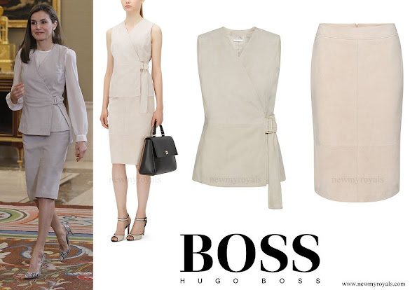 Queen Letizia wore BOSS Stiola waistcoat and Setenta skirt