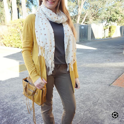 awayfromtheblue instagram mustard cardigan and micro regan bag with olive tee and skinny cargo pants