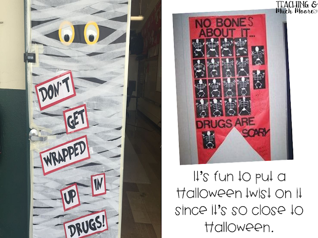 Red Ribbon Week door decorating idea