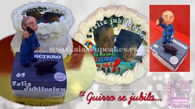 tarta personalizada fondant impresión comestible modelado jubilación jubilado Laia's Cupcakes Puerto Sagunto