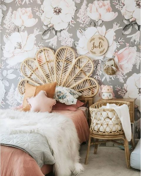 floral wallpaper in girls' rooms