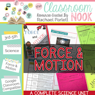 Check out this google classroom compatible science unit for teaching force and motion- perfect for grades 3-5