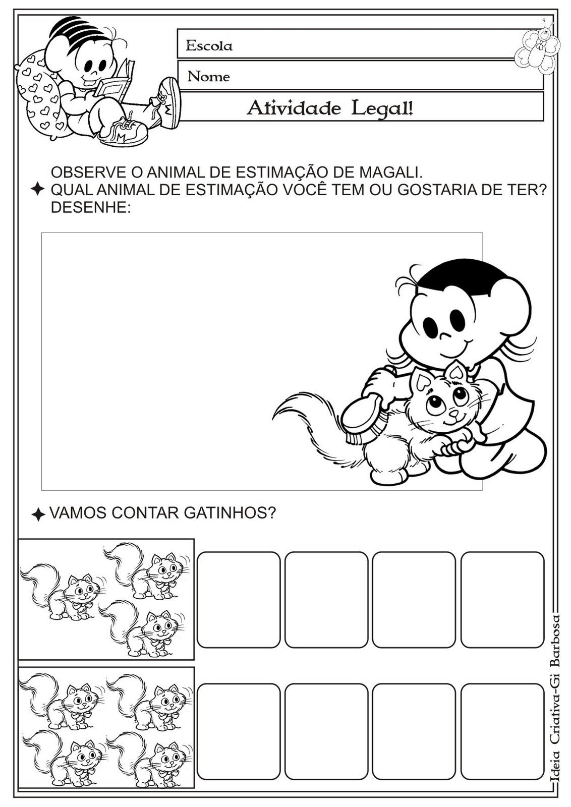 Atividade Matemática Educação Infantil Temática Animais Gato Mingau