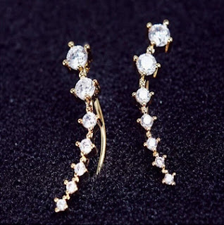 Crystal Earrings Rhinestone (Gold)