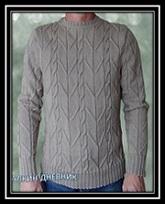 Mujskoi pulover spicami s relefnim uzorom s opisaniem i shemoi