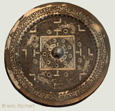 mandala, miroir chinois, bronze, image, centre, cercle,
