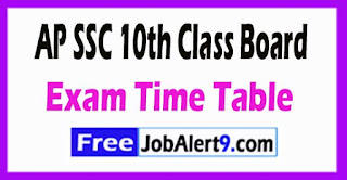 AP SSC 10th Class Exam Time Table Download