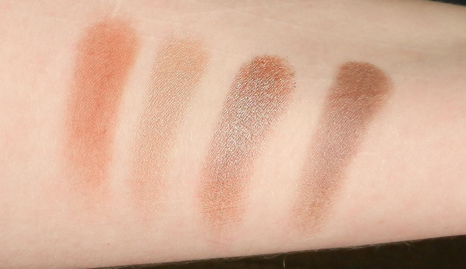 Natasha Denona Palette 28 Blue Swatches 70P Cool Plum, 75P Satin Skin, 40M Lavender Gray, 32P Deep Slate Gray