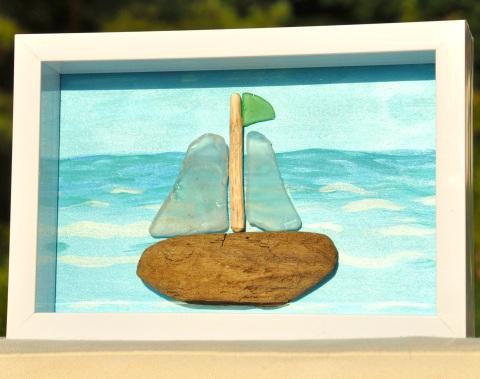 framed sea glass art
