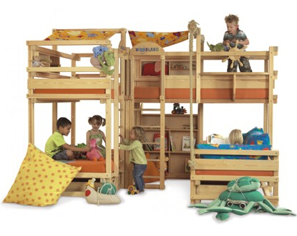 The most fun and amazing bunk beds for kids are these playground beds from  Italian designers Woodland.
