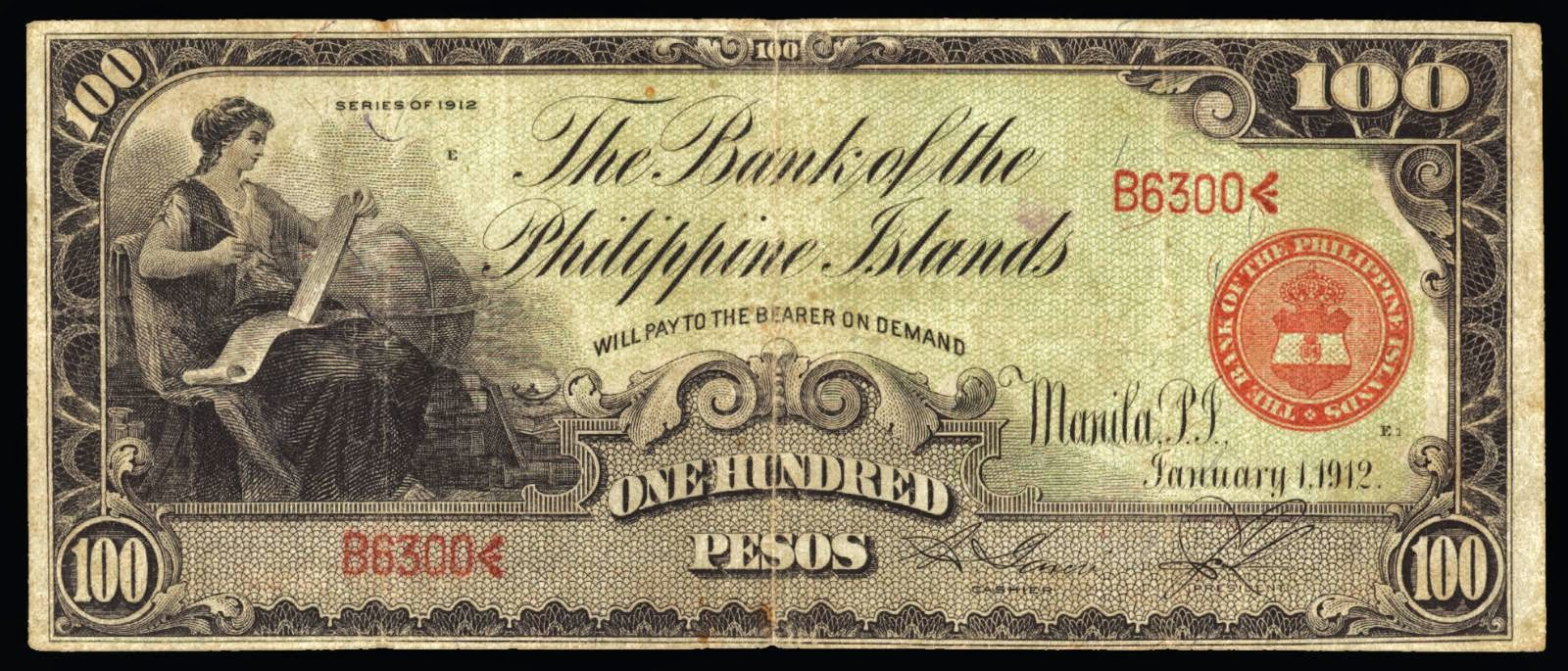 Philippines Islands banknotes One Hundred Pesos note 1912