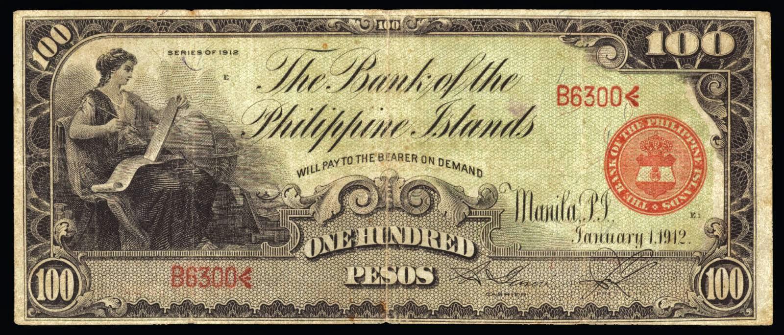 1912 100 Pesos Philippine Bank Note World Banknotes