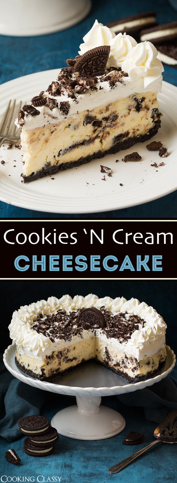 Oreo Cheesecake is total dessert bliss! This over-the-top Oreo studded cheesecake that will be the highlight of any occasion! It's rich and luscious, it's sweet and tangy, and those little bits of chocolate cookie pieces add such a decadent flavor. Definitely a must try dessert!