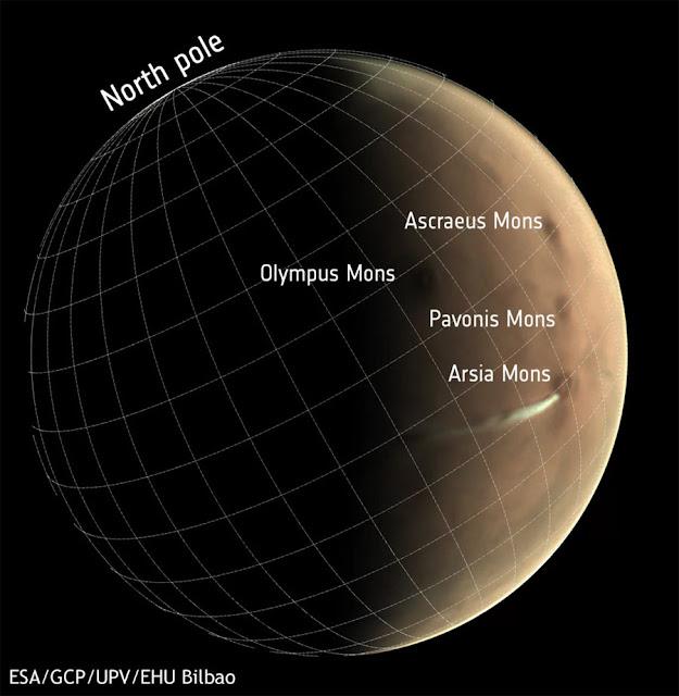 nuvem estranha avistada em Marte