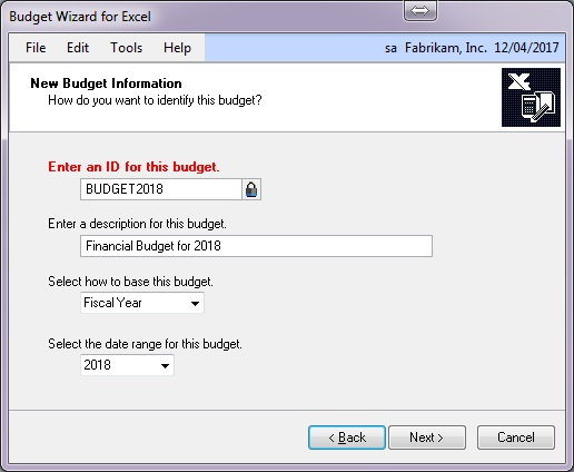 Creating a Budget in Dynamics GP - creating a budget
