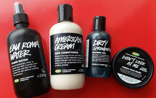 Lush Products on red background