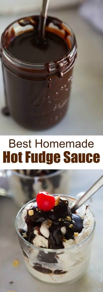 The best ice cream sundae you will ever enjoy is made complete with this amazing, thick, smooth and decadent homemade hot fudge sauce. tastesbetterfromscratch.com #hotfudge #dessert #chocolate #icecream