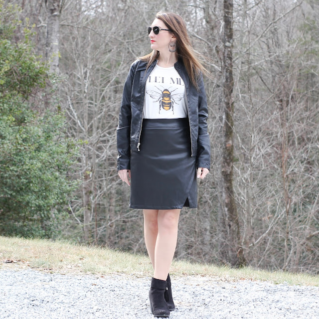 Faux Leather Skirt // Bee Graphic Tee // Faux Leather Jacket // Booties // Aviator Sunglasses