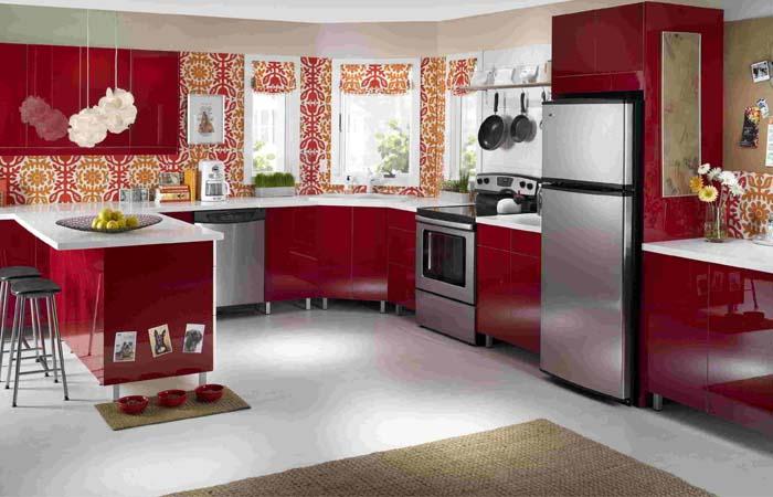 kırmızı vintage tarzı mutfak duvar kağıdı modelleri