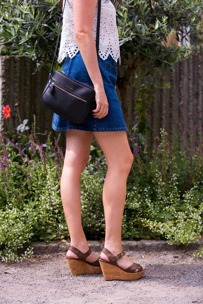 denim a-line midi skirt, cork wedges