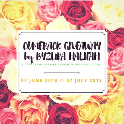 COMEBACK GIVEAWAY by BYZURA HALIFAH, Blogger Giveaway, 2018, Hadiah, Pemenang, Peserta,